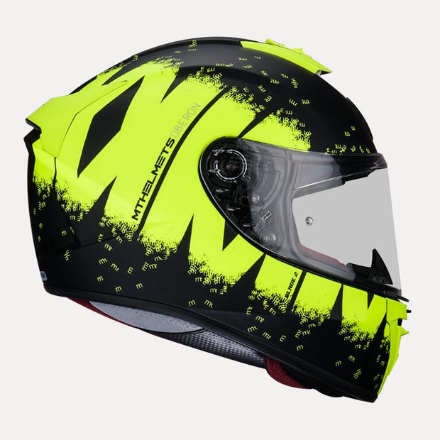 MT Blade 2SV Oberon Matt Helmet fluorescent yellow side view