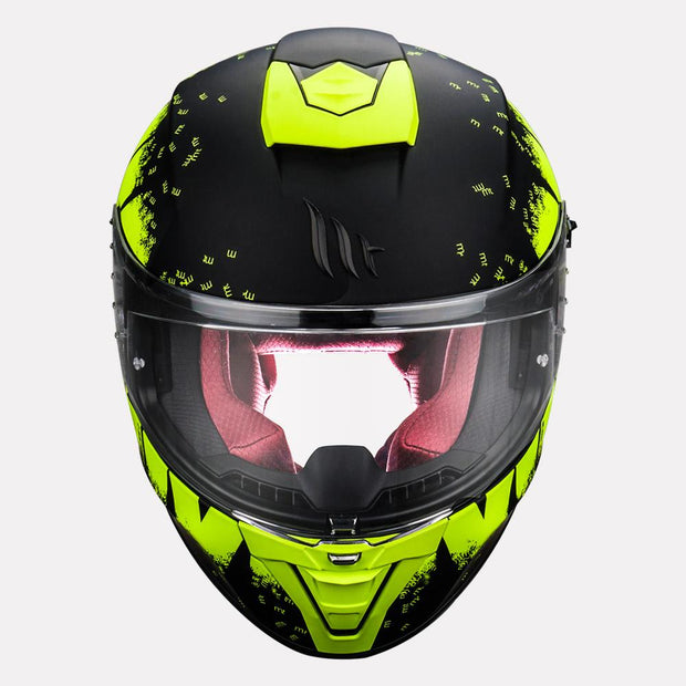 MT Blade 2SV Oberon Matt Helmet fluorescent yellow front view