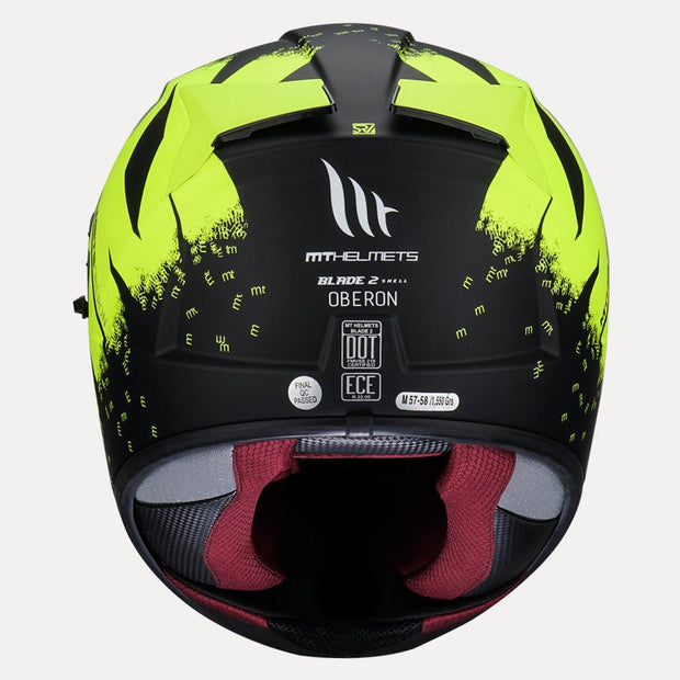 MT Blade 2SV Oberon Matt Helmet fluorescent yellow back view