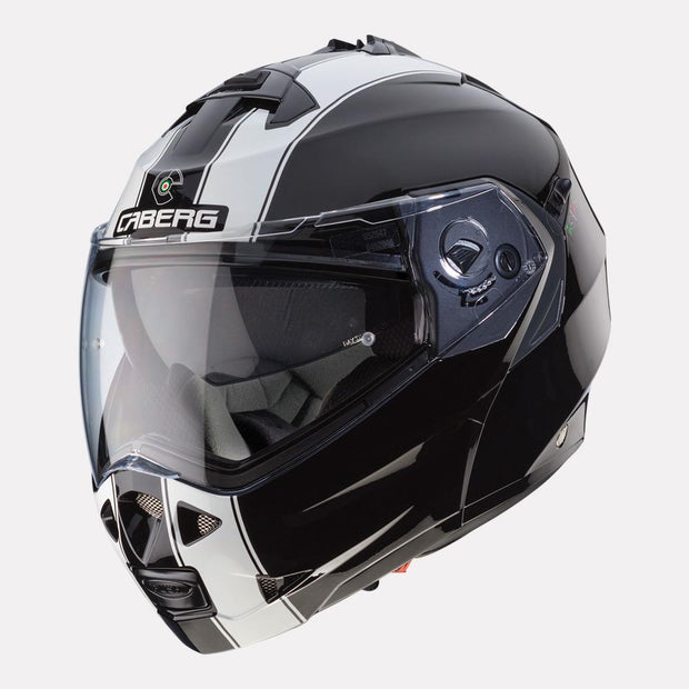 CABERG Duke II Legend motorcycle helmet Black White front angle
