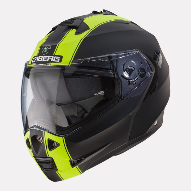 CABERG Duke II Legend motorcycle helmet fluorescent yellow front angle