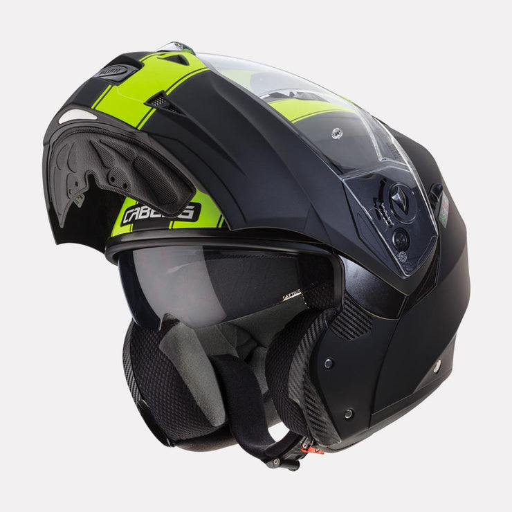 CABERG Duke II Legend motorcycle helmet fluorescent yellow modular view