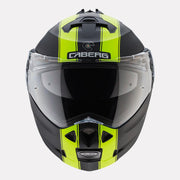 CABERG Duke II Legend motorcycle helmet fluorescent yellow front view