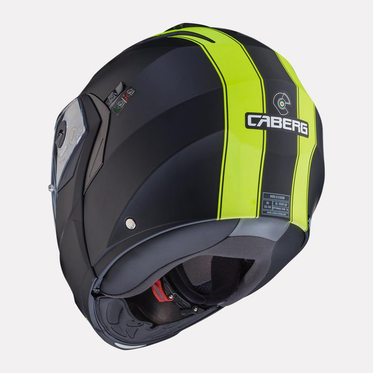 CABERG Duke II Legend motorcycle helmet fluorescent yellow back view