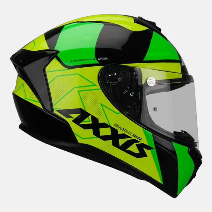Axxis Draken Cinzel Gloss Helmet Green side view