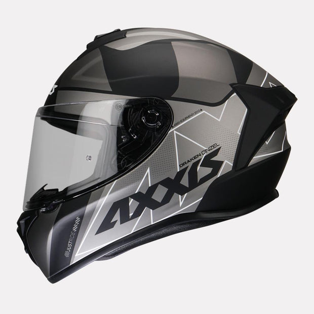 Axxis Draken Cinzel Matt Helmet Grey side view