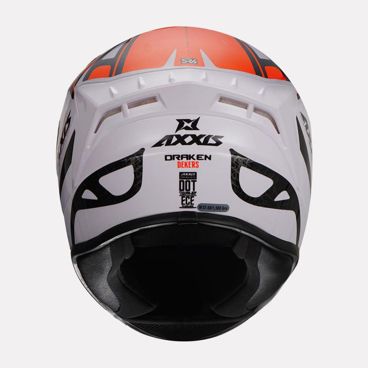 AXXIS Draken Dekers Gloss Helmet orange back view