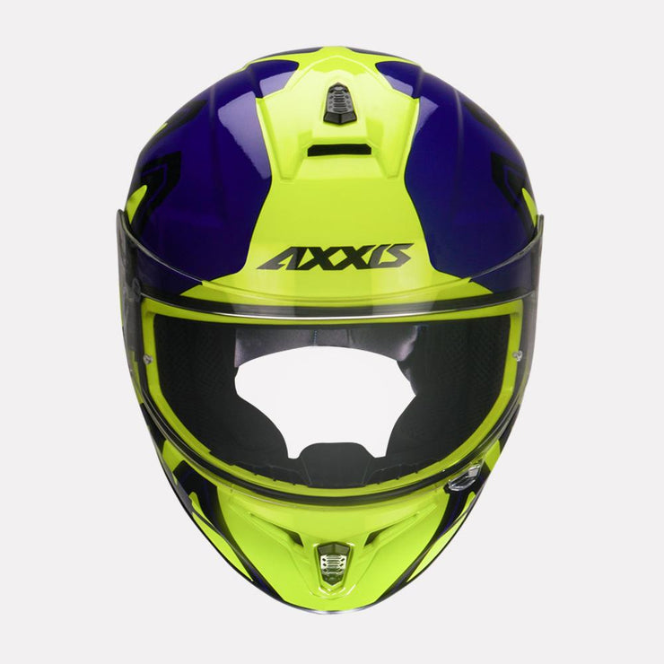 AXXIS Draken Dekers Gloss Helmet Fluorescent Yellow front view