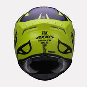 AXXIS Draken Dekers Gloss Helmet Fluorescent Yellow back view