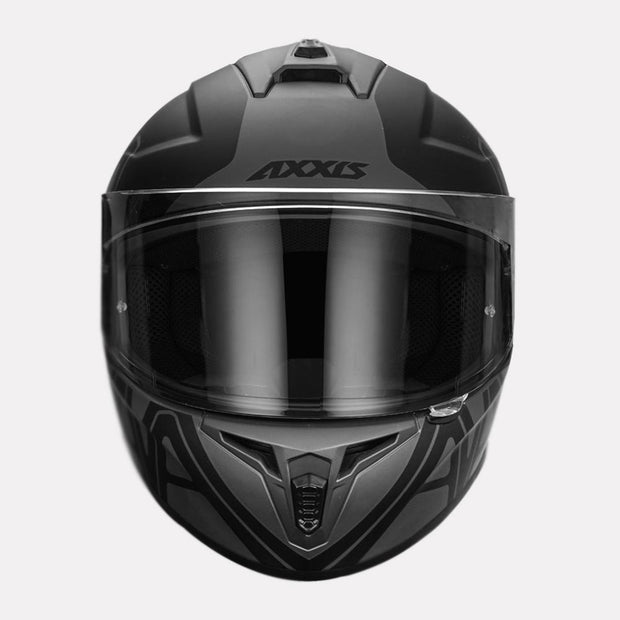 AXXIS Draken Dekers Matt Helmet grey front view