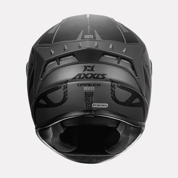 AXXIS Draken Dekers Matt Helmet grey back view