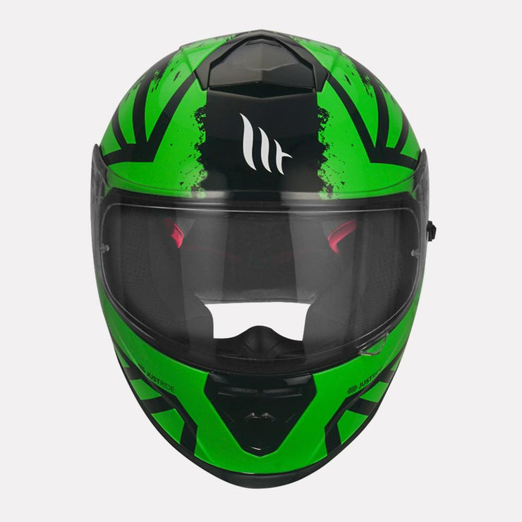 MT Thunder3 SV Kuffner Helmet fluorescent yellow front view