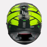 MT Thunder3 SV Kuffner Helmet fluorescent yellow back view