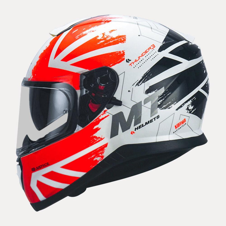 MT Thunder3 SV Kuffner Helmet fluorescent orange side view