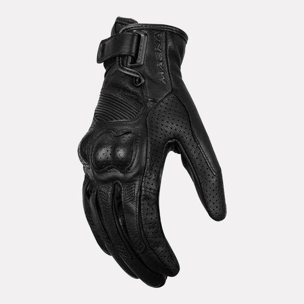 MACNA BOLD Semi Gauntlet Leather Gloves (Black)