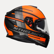 MT Thunder Pitlane motorcycle helmet fluorescent orange side view