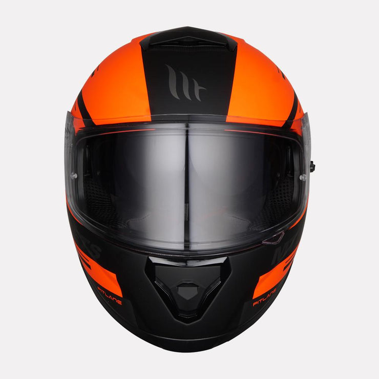 MT Thunder Pitlane motorcycle helmet fluorescent orange front view
