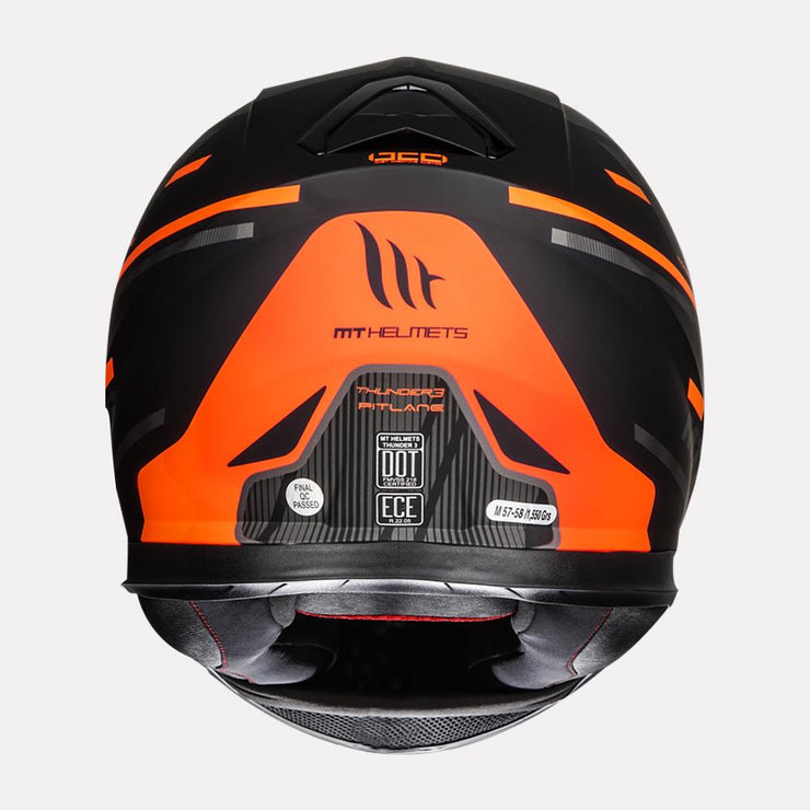 MT Thunder Pitlane motorcycle helmet fluorescent orange back view