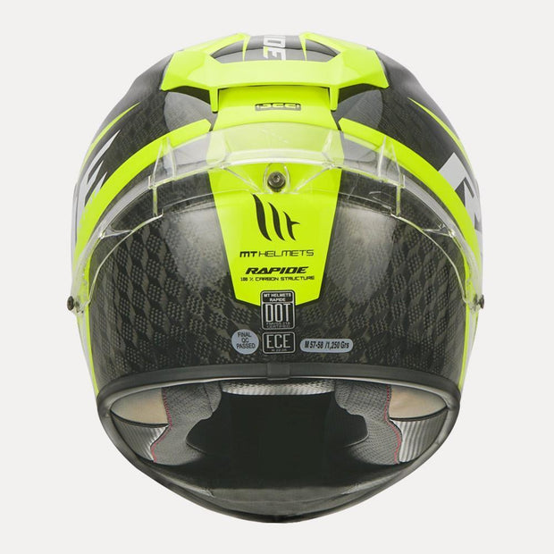 MT Rapide Pro Carbon Helmet fluorescent yellow back view