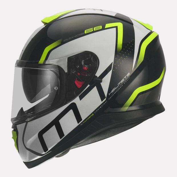 MT Thunder3 SV Rikos Helmet fluorescent yellow side view
