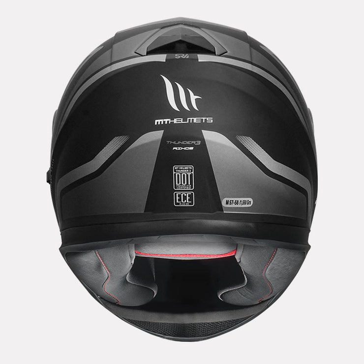 MT Thunder3 SV Rikos Helmet grey back view