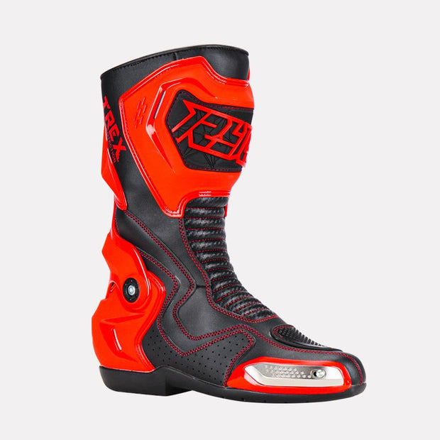 Ryo-T-Rex-Riding-Boots-Red-Front side view