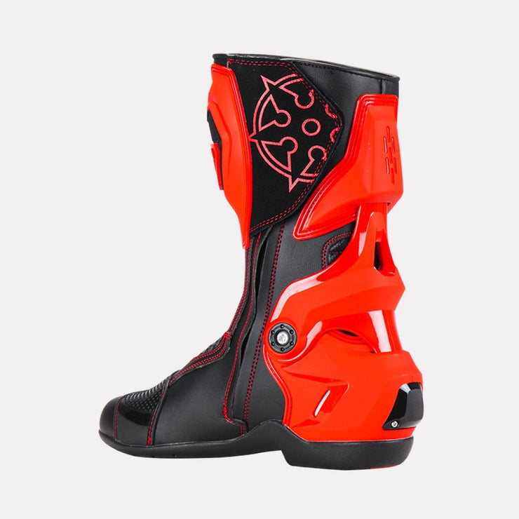 Ryo-T-Rex-Riding-Boots-Red-Right side view