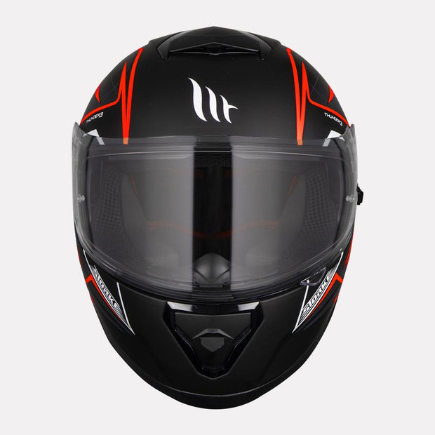 MT Thunder Storke helmet fluorescent orange front view