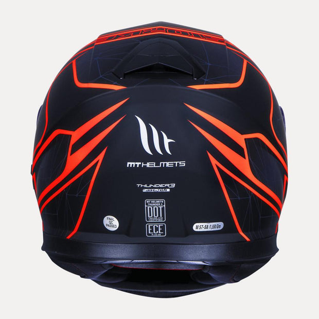 MT Thunder Storke helmet fluorescent orange back view