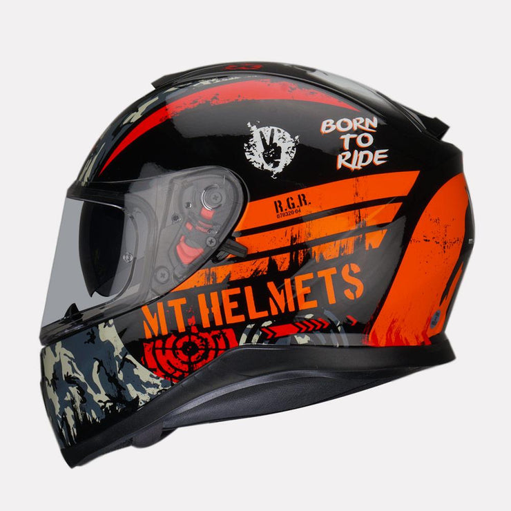 MT Thunder Sniper helmet fluorescent orange side view