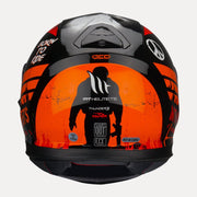MT Thunder Sniper helmet fluorescent orange back view