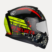 MT Thunder Sniper helmet fluorescent yellow side view