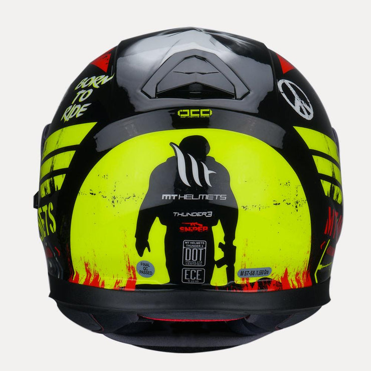 MT Thunder Sniper helmet fluorescent yellow back view