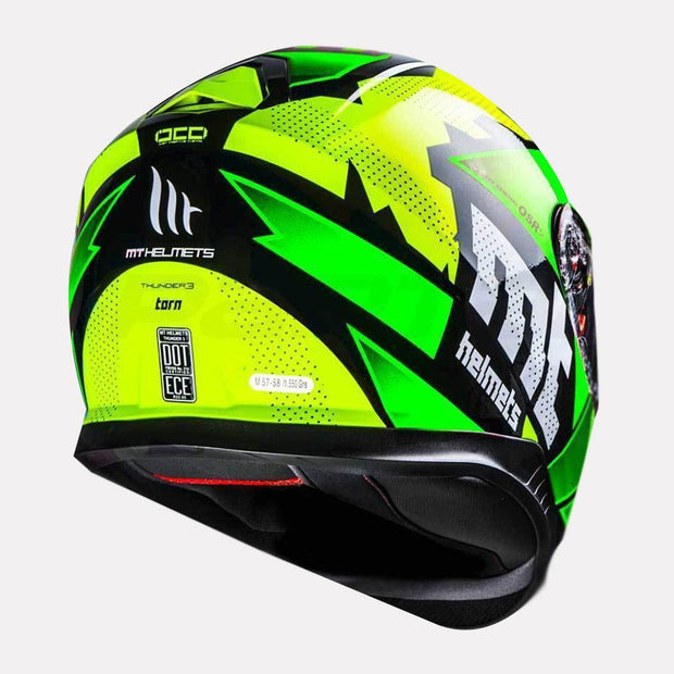 MT Thunder Torn helmet green back view