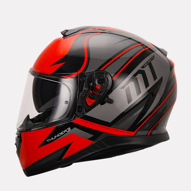 MT Thunder Cap helmet red side view
