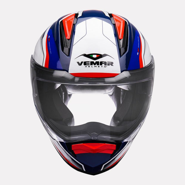 Vemar Zephir Lunar Gloss Helmet blue red front view