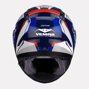 Vemar Zephir Lunar Gloss Helmet blue red back view