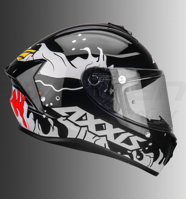 AXXIS Draken B Viper Fish Gloss Black Helmet (Fluorescent Orange)