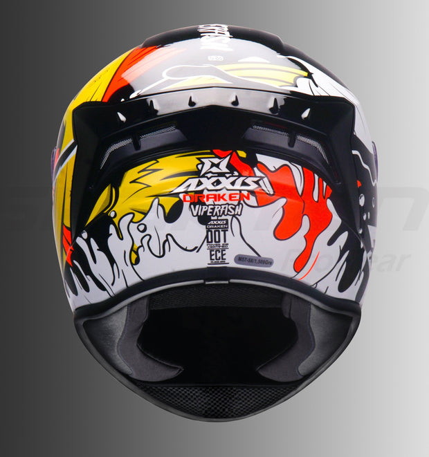 AXXIS Draken Viper Fish Gloss Black Helmet (Fluorescent Orange)