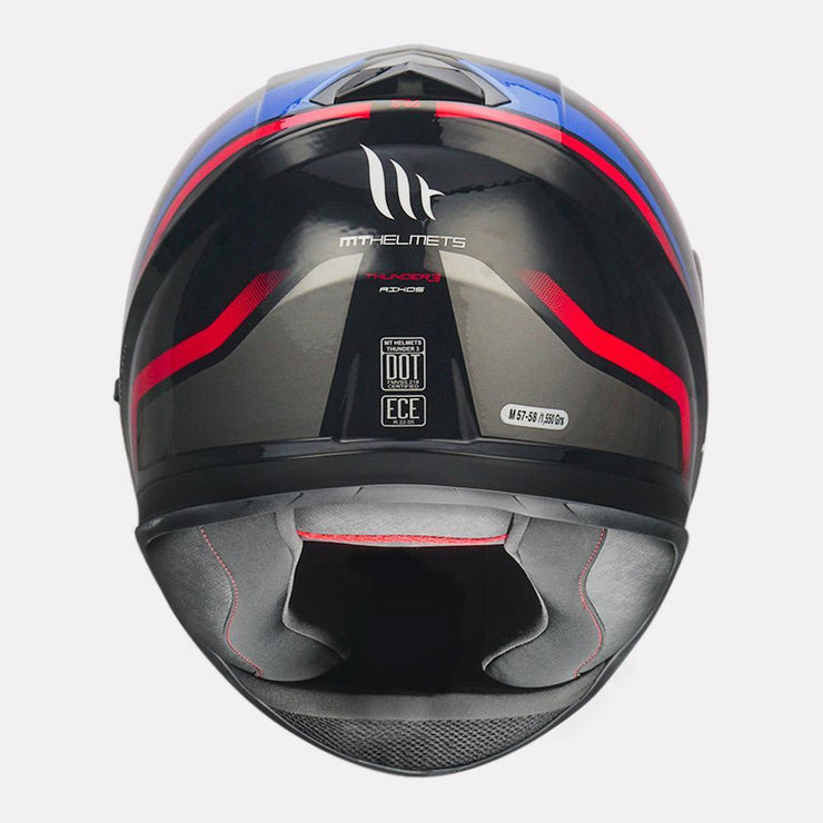 MT Thunder3 SV Rikos Helmet blue back view