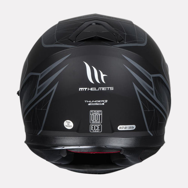 MT Thunder Storke helmet grey back view