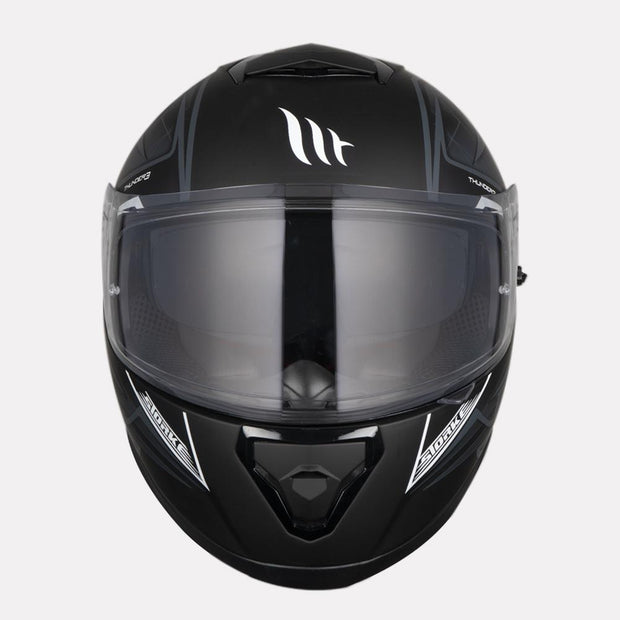 MT Thunder Storke helmet grey front view