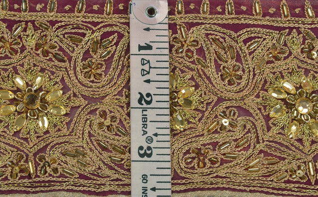 "Antique Vintage Saree Border Hand Beaded Indian Craft Trims Lace 3.2""W +5 Yard"