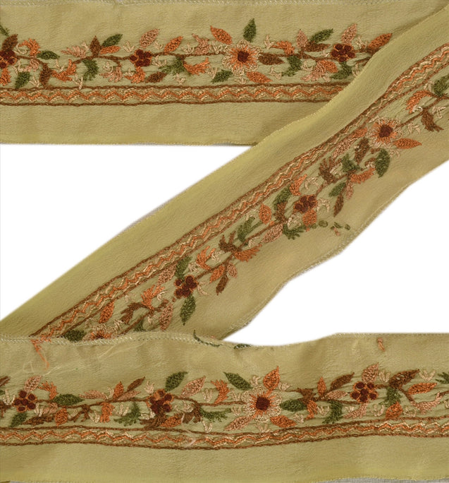 "Antique Vintage Saree Border Hand Embroidered Indian Craft Trims Lace 1""W +1 Yd"