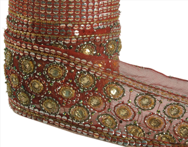 "Antique Vintage Saree Border Hand Beaded Indian Craft Trims Lace 2.5""W +1 Yd Red"