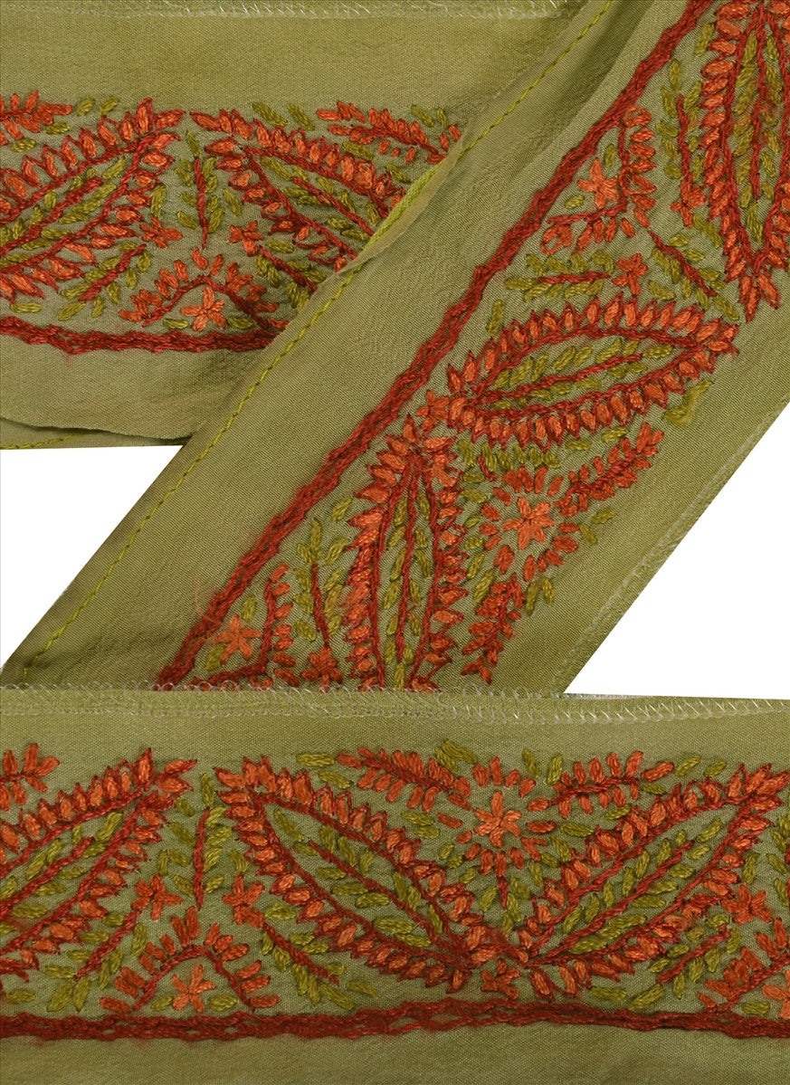 Antique Vintage Saree Border Hand Embroidered Indian Trims Lace 1.5