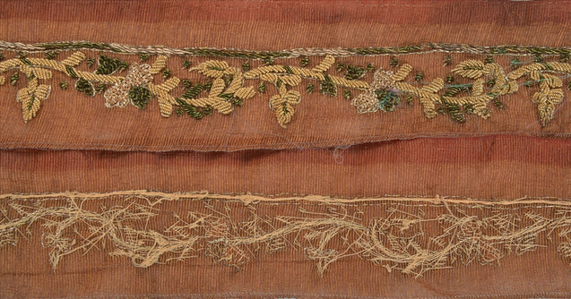 "Antique Vintage Saree Border Hand Embroidered Woven Craft Trims Lace 1.5""W +1 Yd"