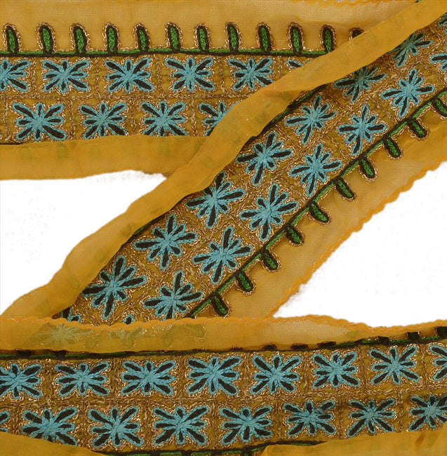 "Antique Vintage Saree Border Hand Embroidered Indian Craft Trims Lace 2""W +1 Yd"