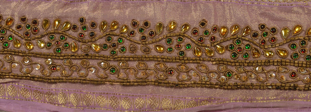 "Antique Vintage Saree Border Hand Beaded Woven Indian Craft Trims Lace 2""W +1 Yd"