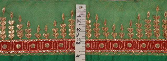 "Antique Vintage Saree Border Hand Embroidered Indian Craft Trims Lace 4""W +1 Yd"